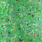Malerei Spurenfeld V, Acryl Ölkr.Lwd, 105x95cm, 1998