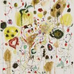 Malerei, Spurenfeld Sommerfest, 90x80cm Acryl, Lwd ,1998